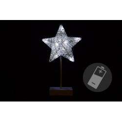 Vánoční dekorace - hvězda na stojánku, 40 cm, 10 LED