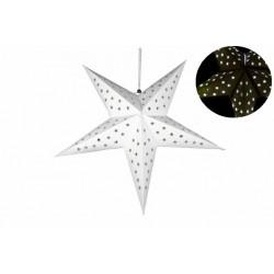 Vánoční dekorace - Papírová hvězda 60 cm - 10 LED, bílá