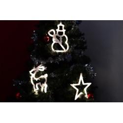 Vánoční dekorace na okno - hvězda, sněhulák, sob, LED FROST