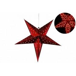 Vánoční dekorace - Papírová hvězda 60 cm - 10 LED, červená
