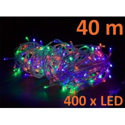 Vánoční LED osvětlení - 40 m, 400 LED, barevné