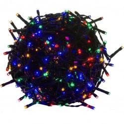 Vánoční LED osvětlení - 10 m, 100 LED, barevné, zelený kabel