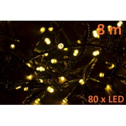 Vánoční LED osvětlení 8m - teple bílé, 80 diod