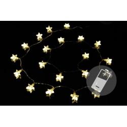 Vánoční světelný řetěz - hvězdy, teple bílý