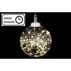 Vánoční dekorace - žárovka, 30 LED, teple bílá