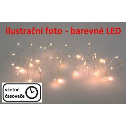 Vánoční LED stříbrný drát - 60 LED, barevný