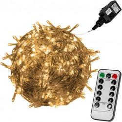 Vánoční LED osvětlení - 40 m, 400 LED, teple bílé + ovladač