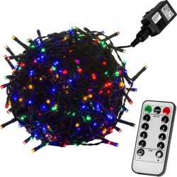 Vánoční osvětlení 5 m, 50 LED, barevné, zel.kabel, ovladač