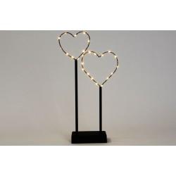Vánoční LED dekorace - kovová srdce, 25 LED, černá