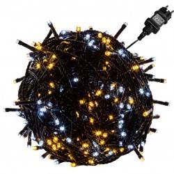 VOLTRONIC Vánoční řetěz - 60 m, 600 LED, teple/studeně bílý