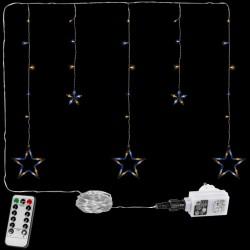 Vánoční závěs - 5 hvězd, 61 LED, teple/studeně bílý +ovladač