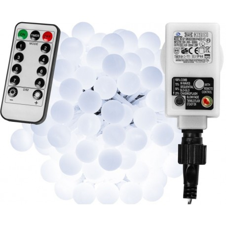Párty LED osvětlení 10 m - studeně bílá 100 diod + ovladač