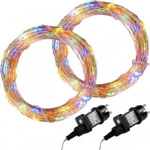 Sada 2 kusů světelných drátů 200 LED - barevná