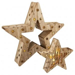 Sada 2 dřevěných vánočních hvězd - 15 LED