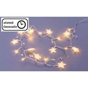 Dekorační řetěz 20 LED - hvězdy a krystaly, teplá bílá