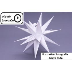 Vánoční dekorace hvězda s časovačem - 10 LED, 35 cm, žlutá