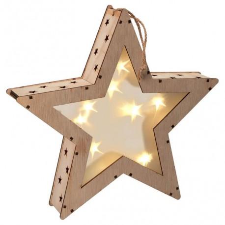 Vánoční dřevěná hvězda s 3D efektem, 8 LED