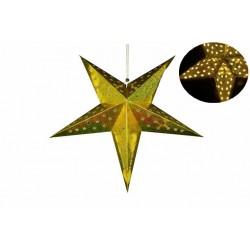 Vánoční dekorace - Papírová hvězda 60 cm - 10 LED, zlatá