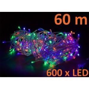 Vánoční LED osvětlení 60 m - barevné, 600 diod