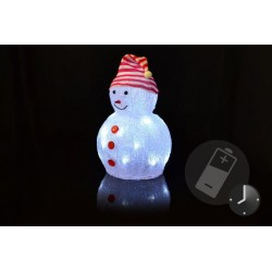 Vánoční dekorace - akrylový sněhulák, studeně bílý
