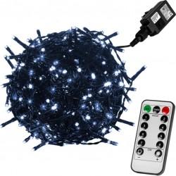 Vánoční osvětlení 20 m, 200 LED,stud.bílé, zel.kabel,ovladač