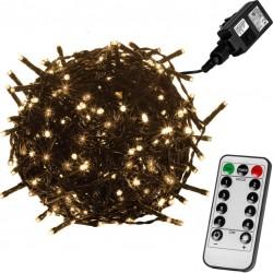Vánoční osvětlení 10 m,100 LED,teple bílé, zel.kabel,ovladač