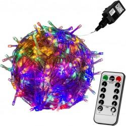 Vánoční LED osvětlení - 10 m, 100 LED, barevné + ovladač
