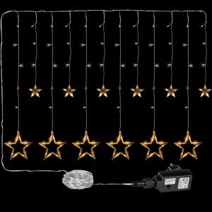 Vánoční dekorace - svítící hvězdy - 150 LED teple bílá