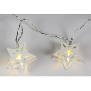 Vánoční dekorativní řetěz HOLZ - bílá hvězda - 10 LED