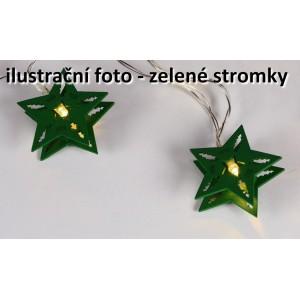 Vánoční dekorativní řetěz HOLZ - zelené stromky - 10 LED