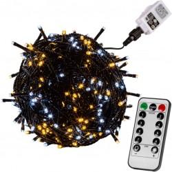 Vánoční osvětlení 60m - teple/studeně bílá 600LED + ovladač