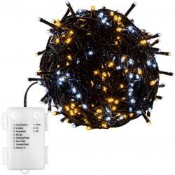 Vánoční osvětlení 20m - teple/studeně bílá 200LED na BATERIE