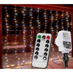 Vánoční světelný závěs 300 LED - 3x3 m, teple/studeně bílý