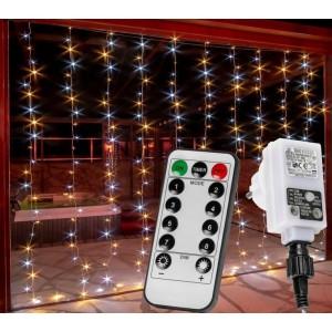 Vánoční světelný závěs - 3x3 m, 300 LED, teple /studeně bílý