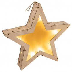 Vánoční dřevěná hvězda s 3D efektem, 10 LED