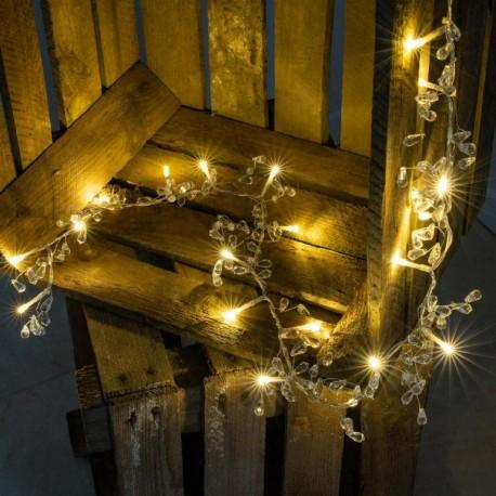 Dekorační řetěz s třpytivými krystaly - 20 LED, teplá bílá