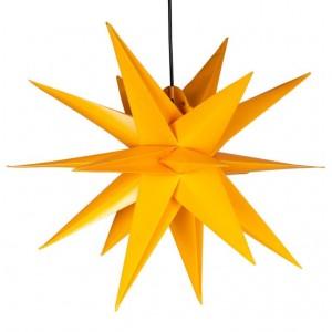 Vánoční dekorace - hvězda s časovačem 1 LED, 55 cm, žlutá