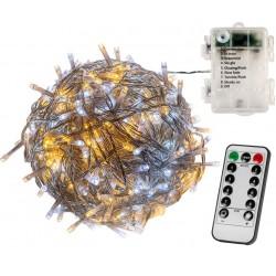 VOLTRONIC Vánoční řetěz 10 m,100 LED,teple/stud.bílý+ovladač
