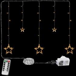 Vánoční závěs - 5 hvězd, 61 LED, teple bílý + ovladač