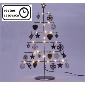 Vánoční kovový dekorační strom - černý, 25 LED, teple bílá