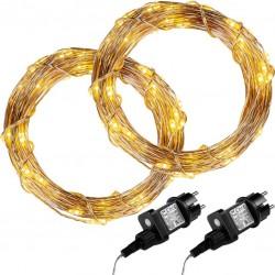 Sada 2 kusů světelných drátů 50 LED - teplá bílá