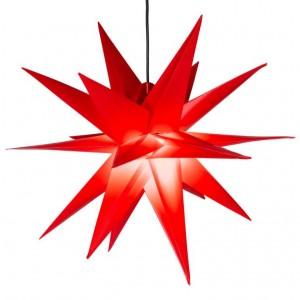 Vánoční dekorace - hvězda s časovačem 1 LED, 55 cm, červená