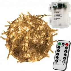 Vánoční 100 LED osvětlení - 10 m, teple bílé, na baterie