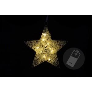 Vánoční dekorace - hvězda, 25 cm, 10 LED diod