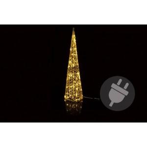 Vánoční akrylový jehlan 90 cm - teple bílý, do zásuvky