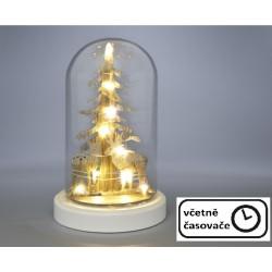 Vánoční svítící dekorace kopule - jeleni, 10 LED, teple bílá