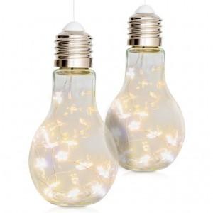 Vánoční dekorace žárovka, sada 2 ks, 10 LED, teple bílá