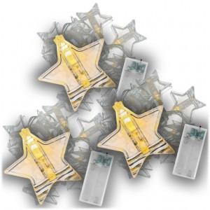 Vánoční světelný řetěz hvězdy, sada 3 ks, teple bílá, 10 LED