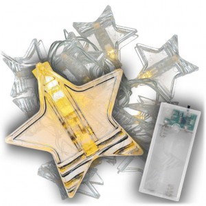 Vánoční světelný řetěz hvězdy, teple bílá, 10 LED