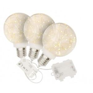 Vánoční dekorace žárovka, sada 3 ks, 40 LED, teple bílá